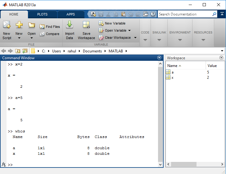 MATLAB Variable (Scalar, Vector, or Matrix and commands like